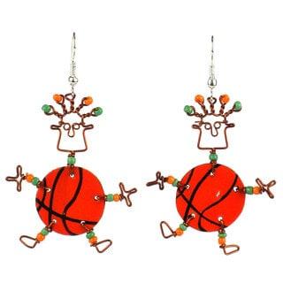 Handmade Dancing Girl Basketball Earrings (Kenya)
