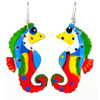 Handmade Painted Tin Seahorse Earrings (Kenya)