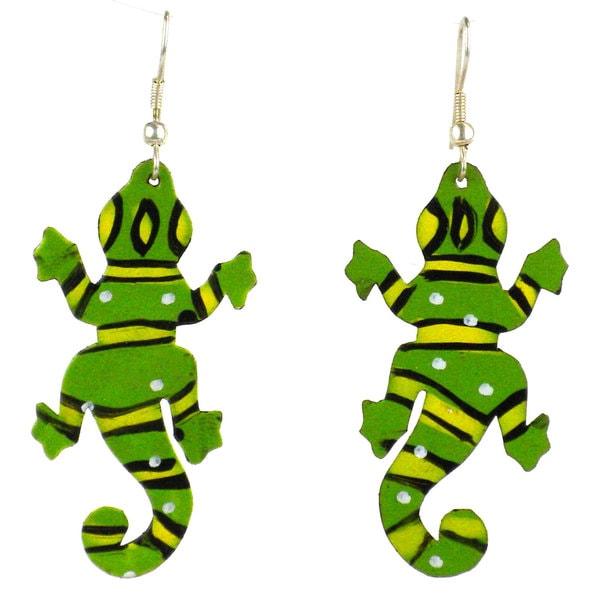Handmade Painted Tin Gecko Earrings (Kenya)