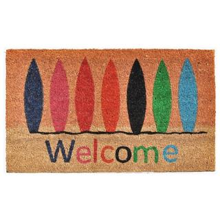 Surfboard Welcome Coir with Vinyl Backing Doormat (1'5 X 2'5)