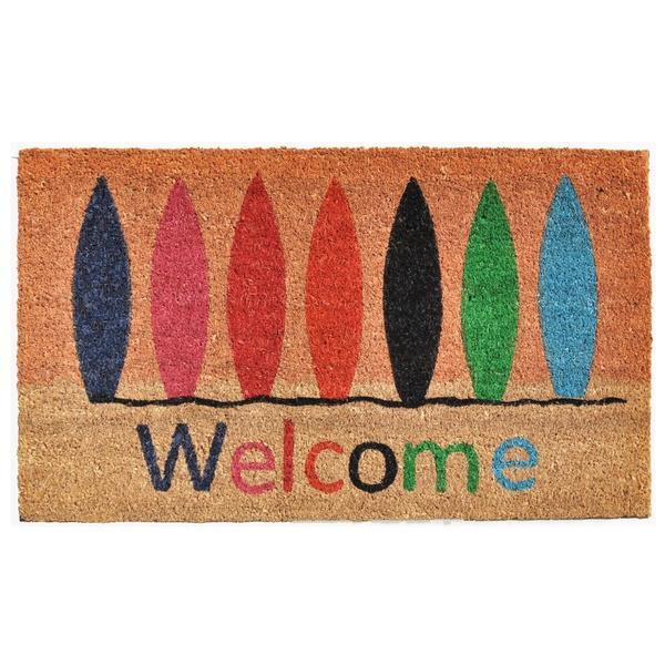 Surfboard Welcome Coir with Vinyl Backing Doormat (1'5 X 2'5)