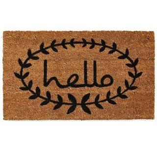 Calico Hello Coir with Vinyl Backing Doormat (1'5 X 2'5)