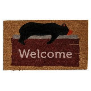 Lazy Bear Welcome Coir with Vinyl Backing Doormat (1'5 X 2'5)