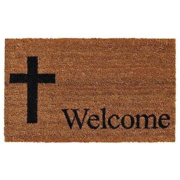 Cross Welcome Coir with Vinyl Backing Doormat (1'5 X 2'5)