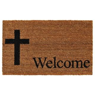Cross Welcome Coir with Vinyl Backing Doormat (1'5 X 2'5)