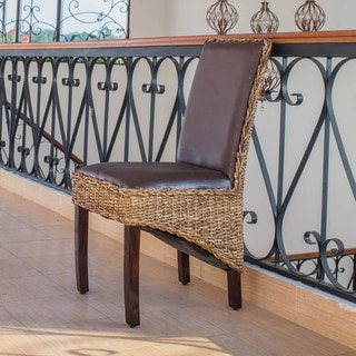 International Caravan 'Salma' Woven Abaca Mahogany-framed Dining Chairs with Cushioned Faux Leather Seat and Back