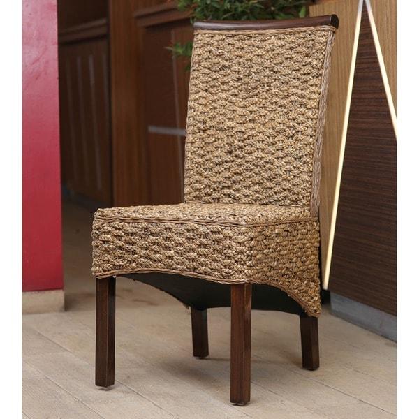 International Caravan U0026#x27;Bungau0026#x27; Hyacinth Dining Chairs With  Mahogany Frame