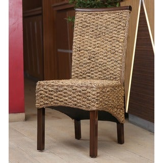 International Caravan 'Bunga' Hyacinth Dining Chairs with Mahogany Frame and Rattan Trim (Set of 2)