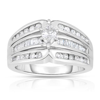 Eloquence 14k White Gold 1ct TDW Marquise-cut Solitaire Diamond Engagement Ring (I-J, I1-I2)