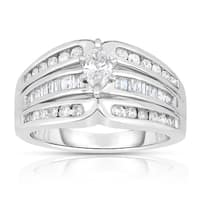 Eloquence 14k White Gold 1ct TDW Marquise-cut Solitaire Diamond Engagement Ring