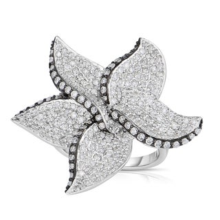 Eloquence 14k Black Rhodium-plated White Gold 1 3/4ct TDW Flower Diamond Ring (H-I, I1-I2)