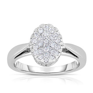 Eloquence 14k White Gold 1/2ct TDW Oval Shaped Cluster Diamond Ring