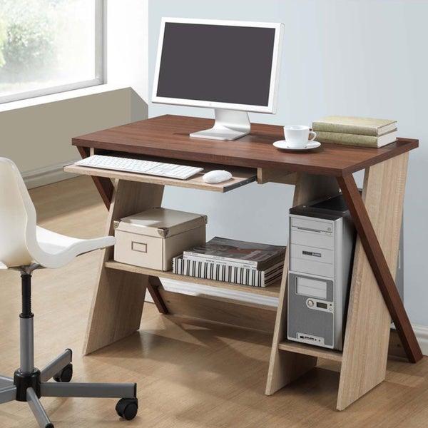 Baxton Studio Rhombus Sonoma Oak Finishing Modern Writing Desk - Free