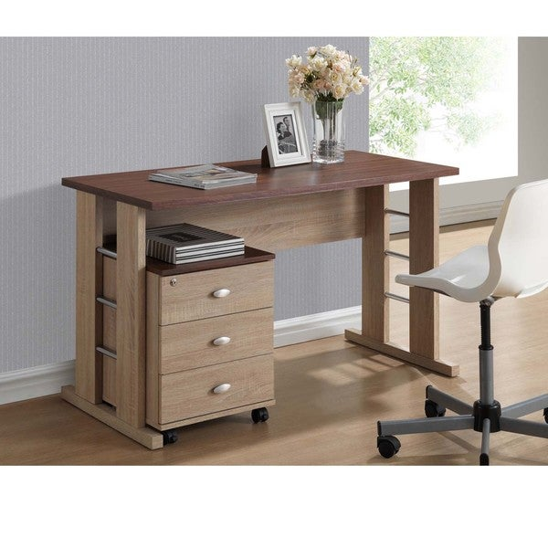 baxton studio woodrow sonoma oak finishing modern writing desk