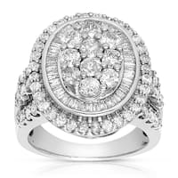 Eloquence 10k White Gold 3ct TDW Composite Halo Cluster Diamond Ring (J-K, I1-I2)
