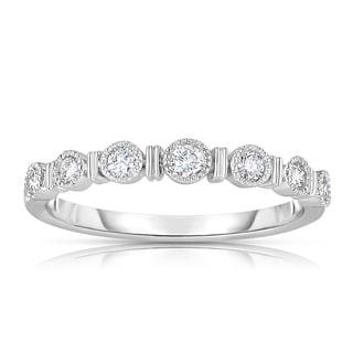 Eloquence 14k White Gold 1/4ct TDW Bezel-set Diamond Band