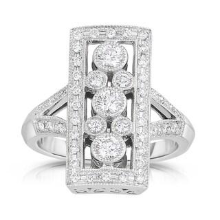 Eloquence 14k White Gold 3/4ct TDW Vintage Style Fashion Diamond Ring