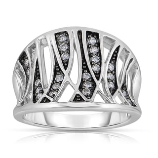 Eloquence 14k Black Rhodium White Gold 1/4ct TDW Fashion Diamond Band (H-I, I1-I2)