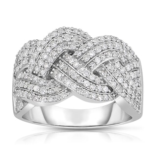 Eloquence 14k White Gold 1ct TDW Braided Diamond Band (H-I, I1-I2)