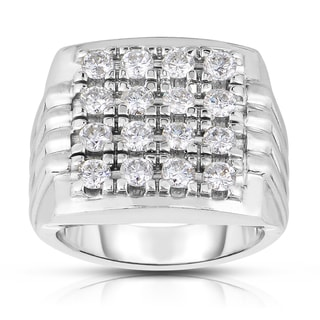 Eloquence Men's 10k White Gold 2ct TDW Multistone Head Diamond Ring (H-I, I2-I3)