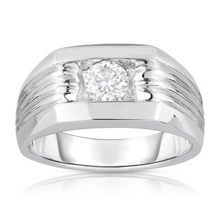 Eloquence Men's 10k White Gold 5/8ct TDW Solitaire Brilliant Diamond Ring (L-M, SI1-SI2)