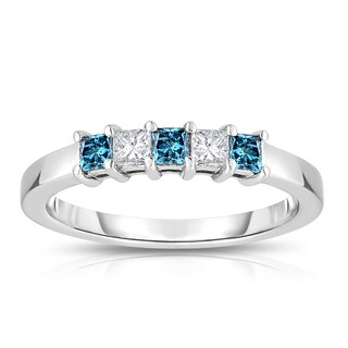 Eloquence 14k White Gold 1/2ct TDW Blue and White 5-Stone Princess Cut Diamond Wedding Band (Blue)