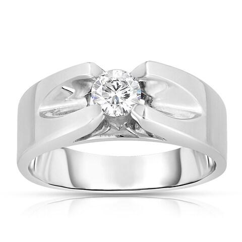 Eloquence Men's 10k White Gold 1/5ct TDW Solitaire Brilliant Diamond Ring