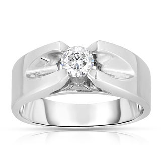 Eloquence Men's 10k White Gold 1/5ct TDW Solitaire Brilliant Diamond Ring (L-M, SI1-SI2)