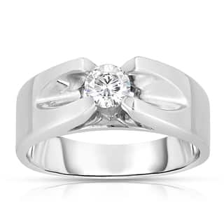 Eloquence Men's 10k White Gold 1/5ct TDW Solitaire Brilliant Diamond Ring|https://ak1.ostkcdn.com/images/products/9604131/P16790040.jpg?impolicy=medium