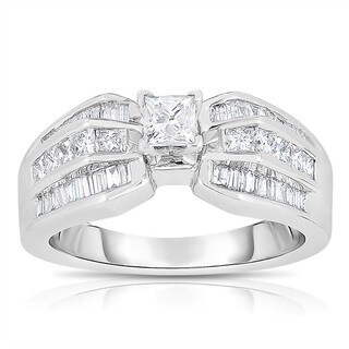 Eloquence 14k White Gold 1ct TDW One-Of-A-Kind Princess Cut Solitaire Diamond Engagement Ring