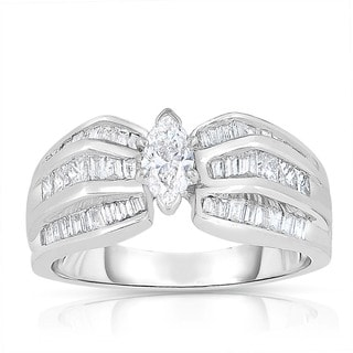 Eloquence 18k White Gold 1ct TDW Marquise-cut Solitaire Diamond Engagement Ring