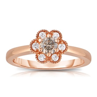 Eloquence 14k Rose Gold 1/2ct TDW Floral Shaped Diamond Ring (Brown, I1-I2)