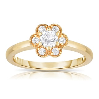Eloquence 14k Yellow Gold 1/2ct TDW Floral Shaped Diamond Ring (H-I, I1-I2)
