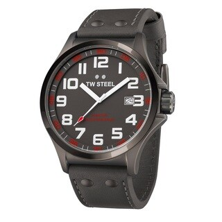 TW Steel Men's 'Pilot' Black PVD Coated Stainless Steel Date TW421 Watch - Grey
