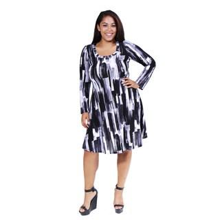 24/7 Comfort Apparel Women's Plus Size Brush Stroke Printed Dress