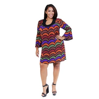 24/7 Comfort Apparel Women's Plus Size Abstract Striped Flare-sleeve Dress