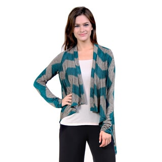 24/7 Comfort Apparel Women's Charcoal and Aqua Chevron Striped Shrug
