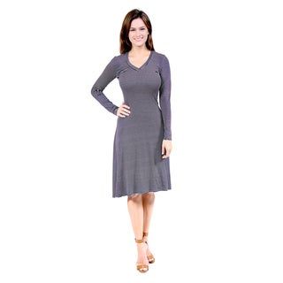 24/7 Comfort Apparel Women's Belted Stripe Print Dress