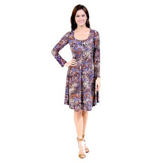 24/7 Comfort Apparel Women's Animal Paisley Print Dress