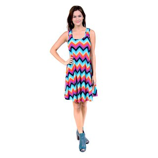 24/7 Comfort Apparel Women's Jagged Rainbow Printed Tank Dress