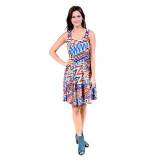 24/7 Comfort Apparel Women's Vibrant Jazz Print Dress