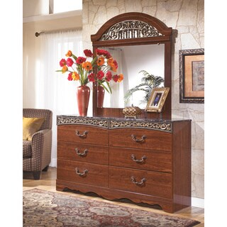 Signature Design by Ashley Fairbrooks Estate Reddish Brown Dresser and Mirror