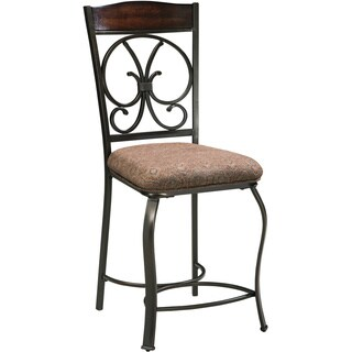 Signature Design by Ashley 25-inch Glambrey Brown Upholstered Barstool (Set of 4)