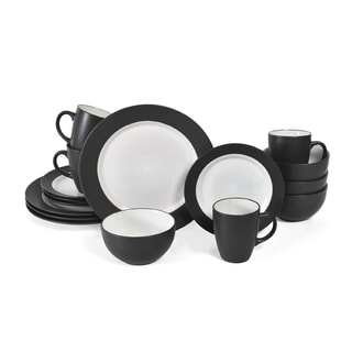 Pfaltzgraff Everyday 16-piece Black/ White Dinnerware Set