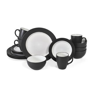 Pfaltzgraff Everyday 16-piece Dark Grey Dinnerware Set  sc 1 st  Overstock : black square plate set - pezcame.com