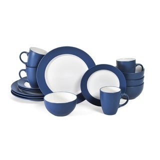 Pfaltzgraff Everyday Blue/White Stoneware 16-piece Dinnerware Set  sc 1 st  Overstock.com & Blue Dinnerware For Less | Overstock