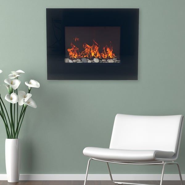 northwest black glass panel wall mounted electric