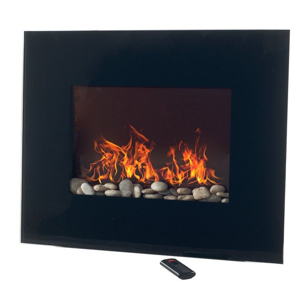 Northwest Black Glass Panel Wall Mounted Electric Fireplace with ...