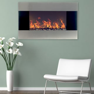 Stainless Steel Electric Fireplace With Wall Mount & Floor Stand & Remote, 36 Inch By Northwest