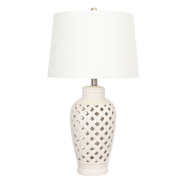 1-light White Lattice Design Ceramic Table Lamp